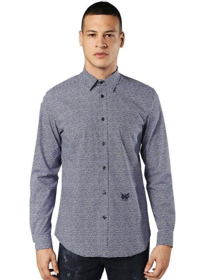 DIESEL S-Duny Wave Design Shirt Blue