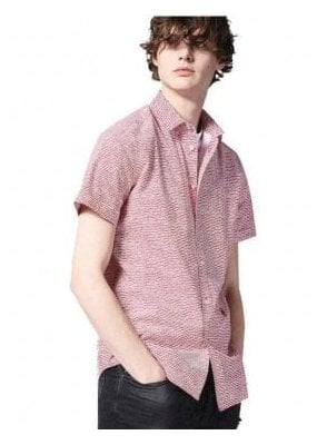 S-venety Wave Design Print S/s Shirt Red White