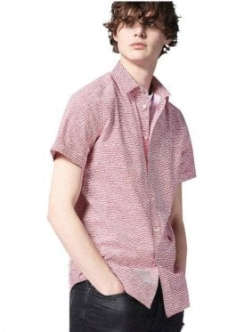 S-venety Wave Design Print S/s Shirt Red White