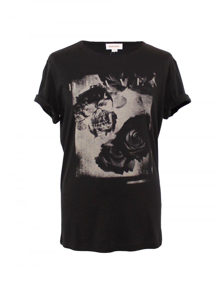 diesel diesel skull and roses black t shirt diesel from. Black Bedroom Furniture Sets. Home Design Ideas