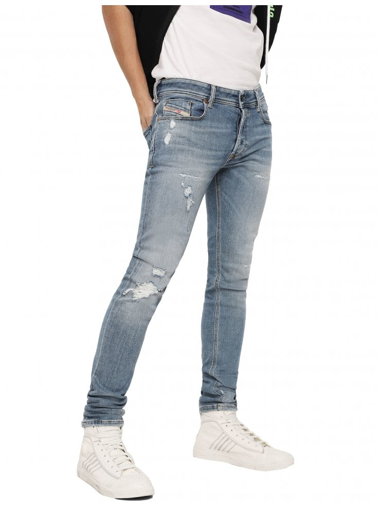 adba7d0c0eef16 Sleenker 086AT Skinny Jeans - Light Blue-Designer Menswear - Ghia Mens