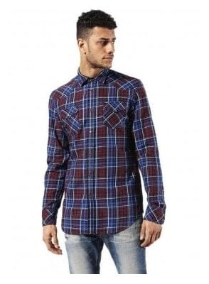 Sulfeden Camicia Long Sleeve Check Shirt Burgundy/Blue
