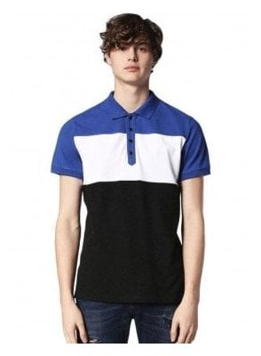 Diesel T-day S/s Block Stripe Polo Tshirt Blue/white