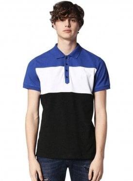 Diesel T-day S/s Block Stripe Polo Tshirt Blue/white
