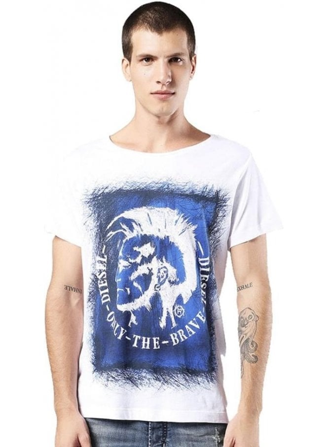 DIESEL T-diego-dc-eb Mohican Head Design Printed S White