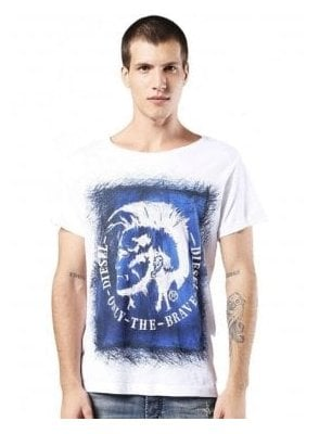 T-diego-dc-eb Mohican Head Design Printed S White