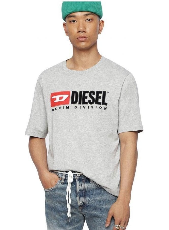 DIESEL T Just Division Tee Shirt 912 Grey Melange