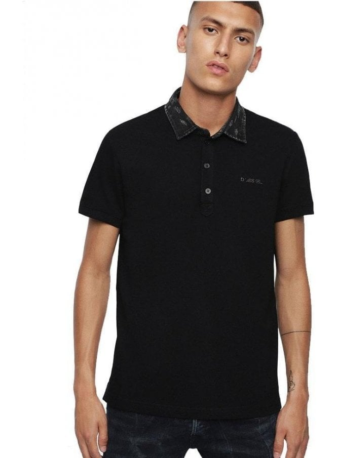 DIESEL T Miles Broken Polo Shirt Black