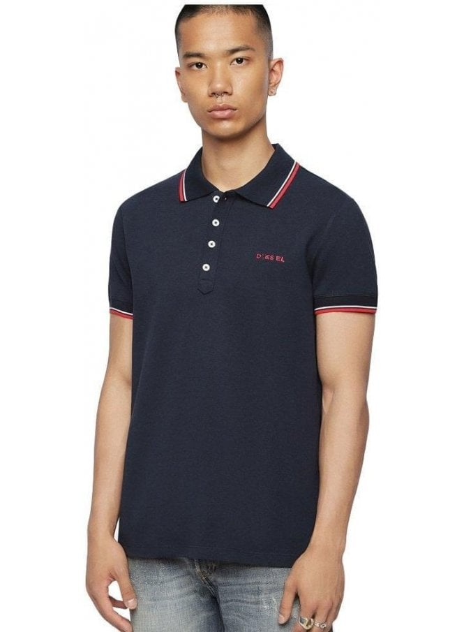 DIESEL T Randy Broken Polo Shirt 81e Blue