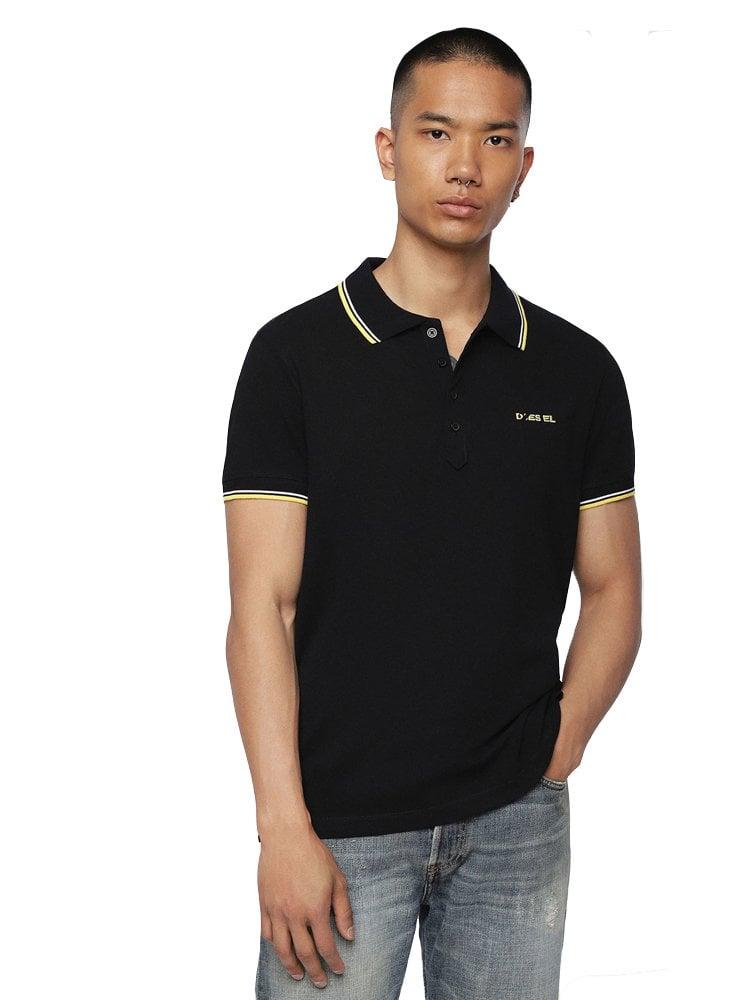 fed7cfca Diesel T Randy Broken Polo Shirt 900 Black - Designer Menswear