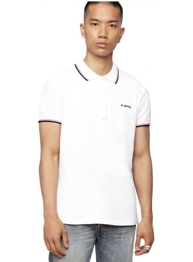 DIESEL T Randy Broken Polo Shirt White