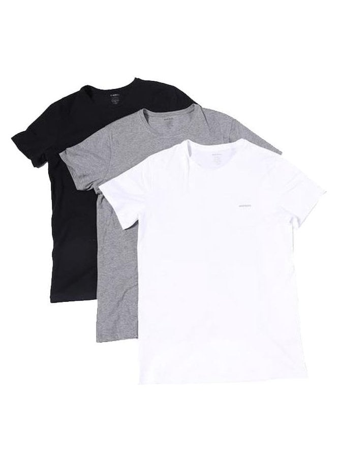 DIESEL Umtee-jakethreepack Crew Neck Tshirts White/black/grey