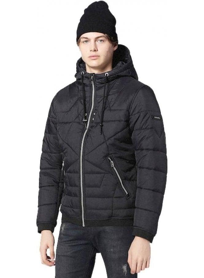 DIESEL W-david Puffa Zip Up Hooded Jacket Black
