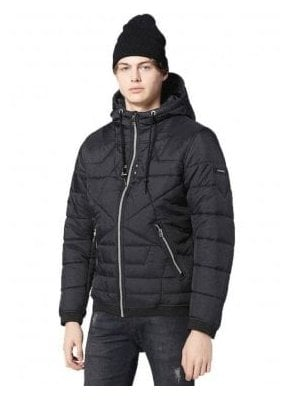 W-david Puffa Zip Up Hooded Jacket Black