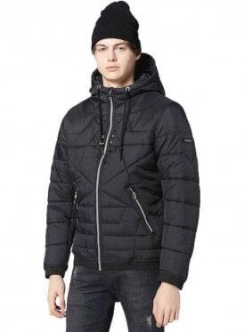W-david Puffa Zip Up Hooded Jacket Black