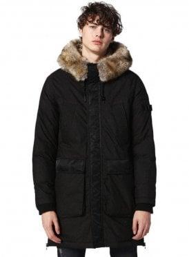 W-folk Detachable Fur Collar Hood Overcoat Black