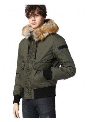 W-galt Puffa Zip Through Faux Fur Collar Jacket Khaki
