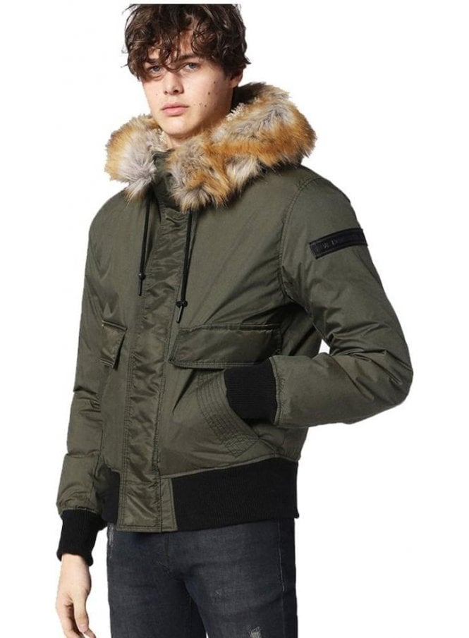DIESEL W-galt Puffa Zip Through Faux Fur Hooded Collar Jacket Khaki