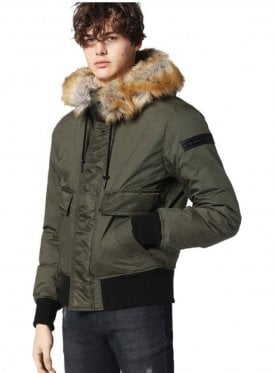 W-galt Puffa Zip Through Faux Fur Hooded Collar Jacket Khaki