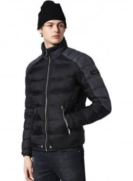 W-mode-fd Denim Shoulder Design Puffa Winter Jacket Black