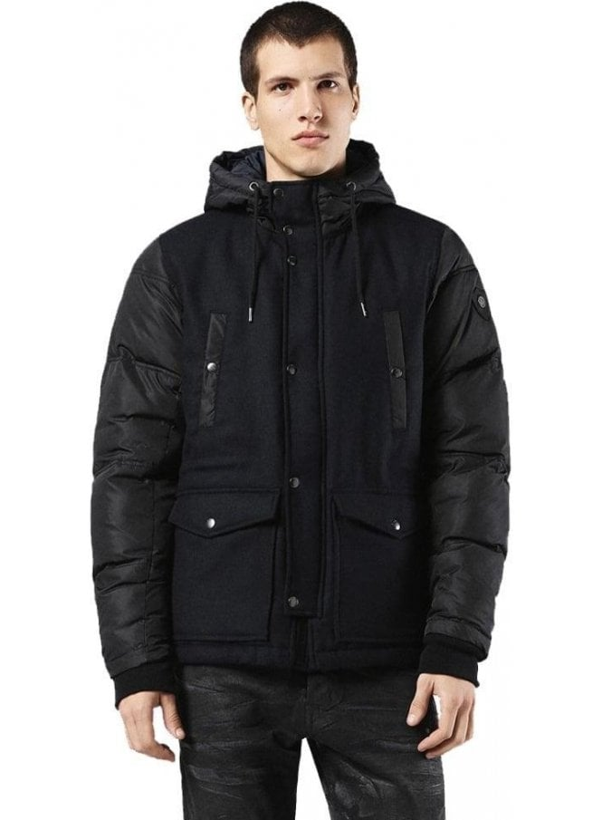 DIESEL W-unresty Wool Nylon Hooded Parka With Deep 900