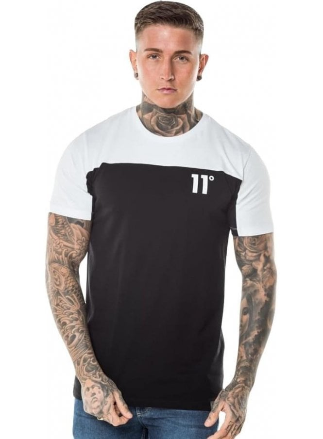 ELEVEN DEGREES Block Crew Neck Tshirt Black/white
