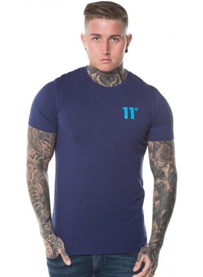 ELEVEN DEGREES Contrast Logo Tee Shirt Navy & Malibu Blue