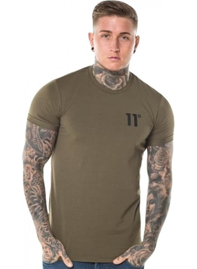 ELEVEN DEGREES Core Muscle Fit Tee Shirt Khaki
