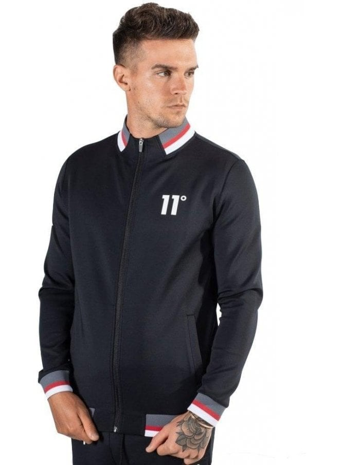 ELEVEN DEGREES Poly Tricot Zip Jacket Black