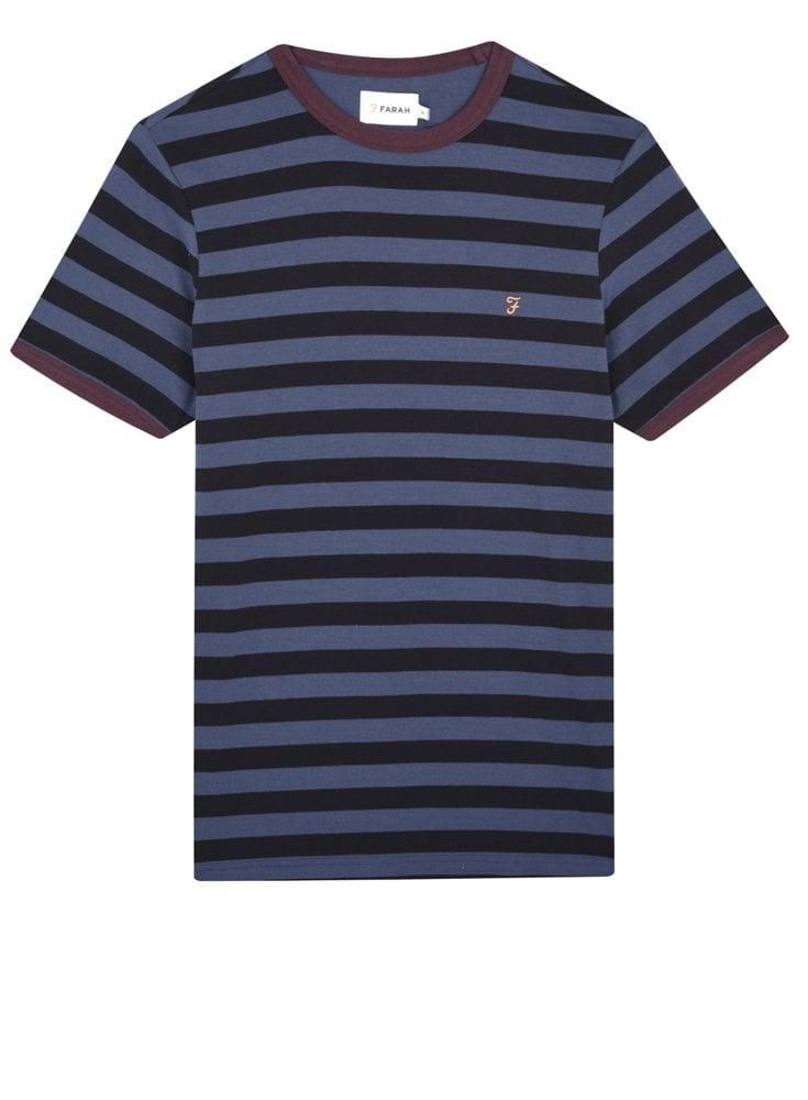 Farah Belgrove Stripe Short Sleeve T-Shirt Bobby Blue - Designer Mens effd7a59d