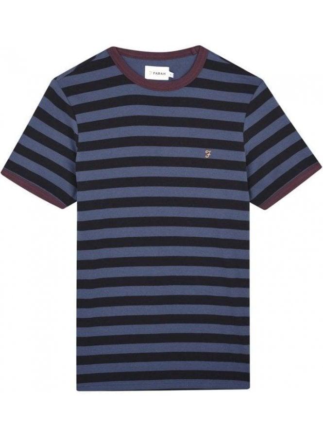 FARAH VINTAGE Belgrove Stripe Short Sleeve T-Shirt Bobby Blue