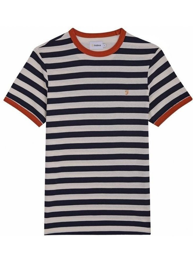 FARAH VINTAGE Belgrove Stripe Short Sleeve T-Shirt True Navy