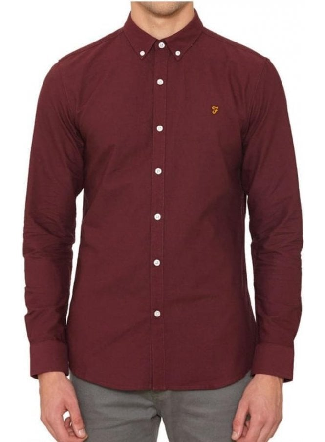 FARAH VINTAGE Brewer Long Sleeved Shirt Bordeaux