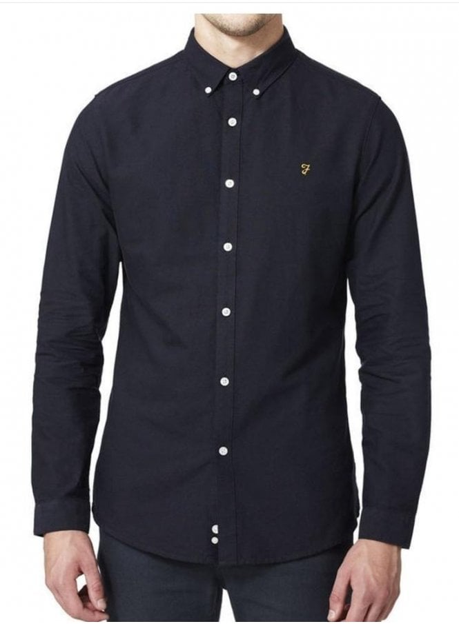 FARAH VINTAGE Brewer Long Sleeved Shirt Navy