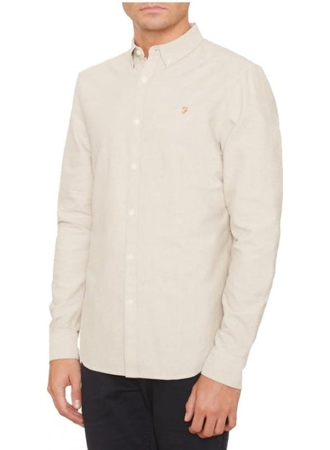 FARAH VINTAGE Brewer Slim Long Sleeve Shirt Almond