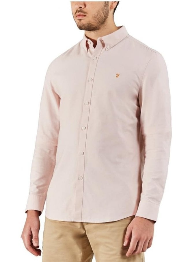 FARAH VINTAGE Brewer Slim Long Sleeve Shirt Pink
