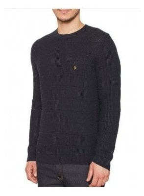 Crew Neck Sweater Jumper Ecru Navy