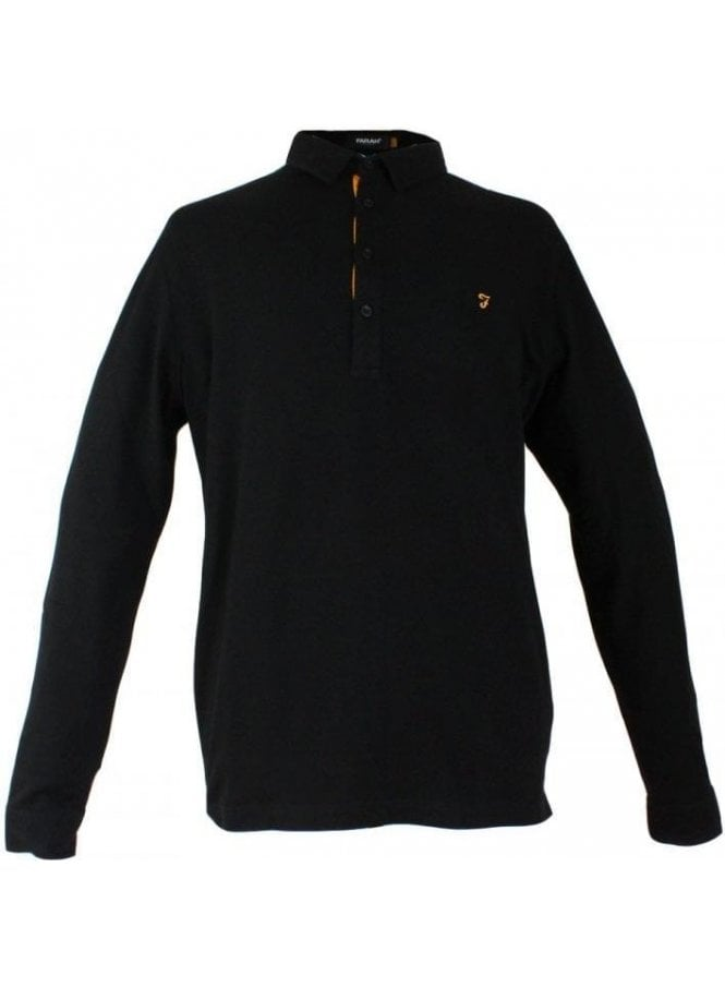FARAH VINTAGE Dlacey Long Sleeve Pique Polo Black