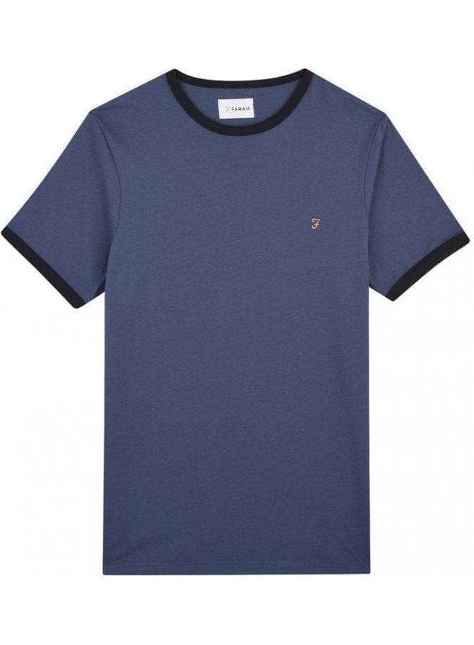 FARAH VINTAGE Groves Ringer Short Sleeve T-Shirt Bobby Blue