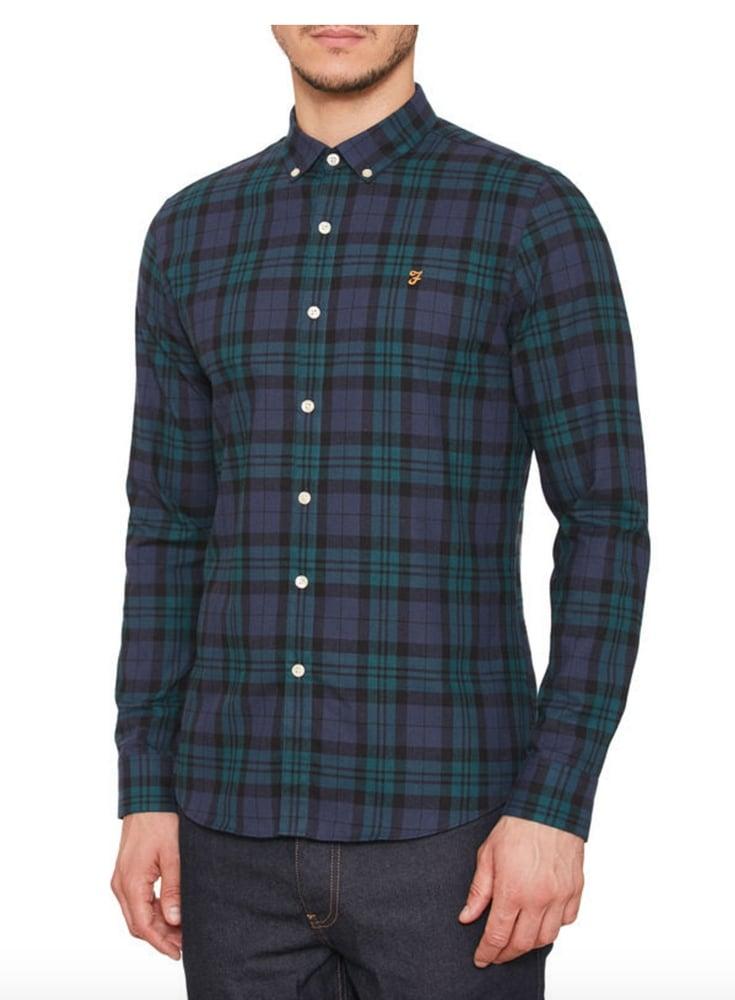 Farah Vintage Helford Long Sleeved Check Shirt Yale 8f0021118
