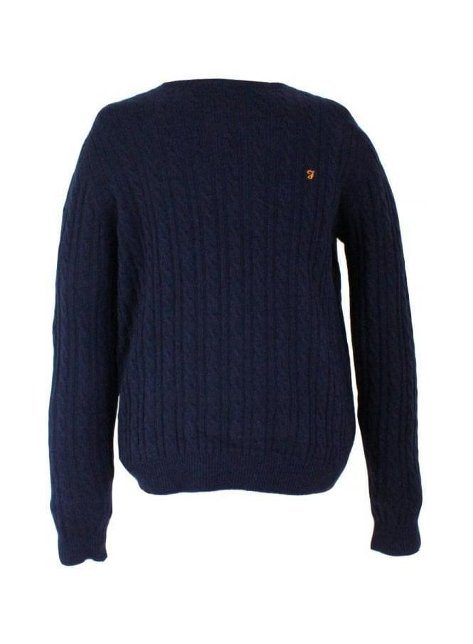FARAH VINTAGE Kirtley Cable Knit Sweater Navy