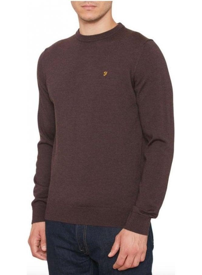 FARAH VINTAGE Mullen Wool Crew Sweater Bordeaux