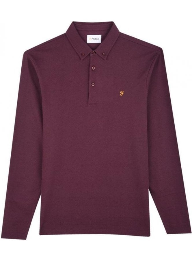 FARAH VINTAGE Stapleton Long Sleeve Polo Farah Red