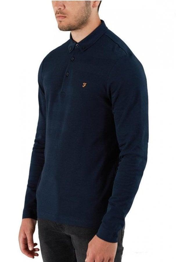 FARAH VINTAGE Stapleton Long Sleeve Polo True Navy