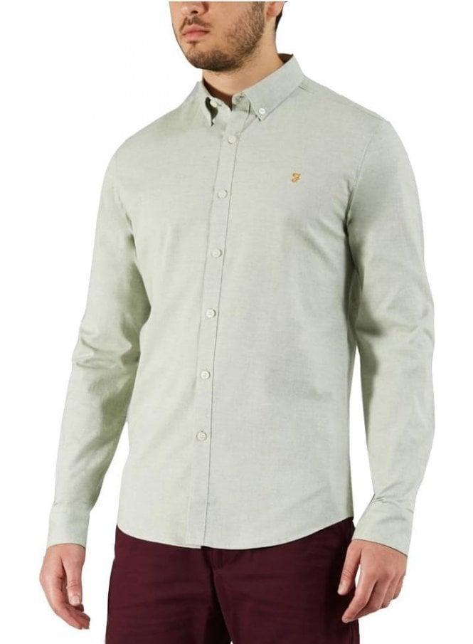 FARAH VINTAGE Steen Slim Long Sleeve Shirt Green Balsam