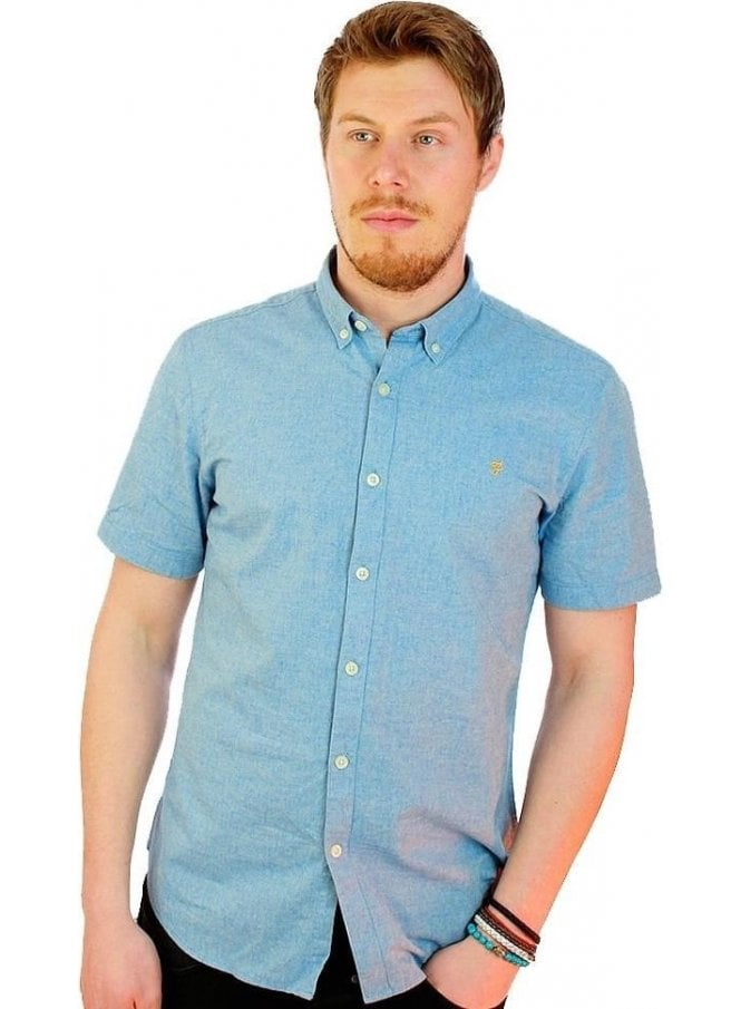 FARAH VINTAGE Steen Slim S/s Chambray Shirt Sierra Blue