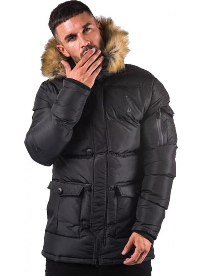 GYM KING Fur Collar Zip Off Hooded Parka Black