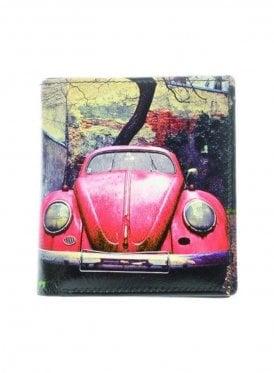 Retro Beetle Print Wallet Black/red