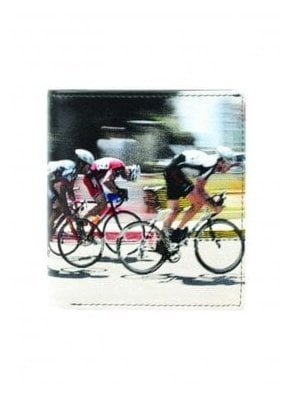 Retro Cyclists Print Gents Notecase Wallet Black/beige