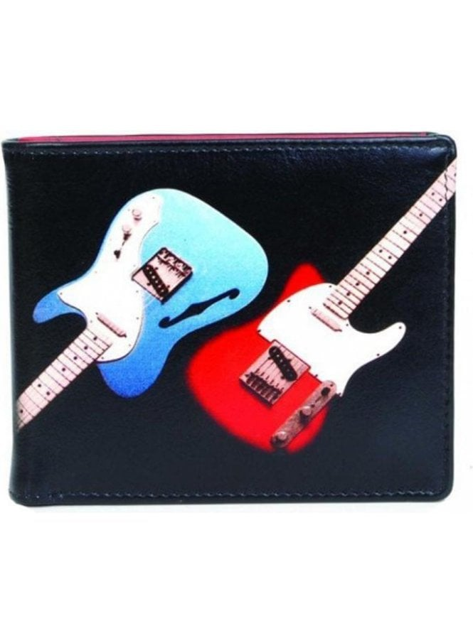 GOLUNSKI Retro Gents Guitar Print Notecase Wallet Black